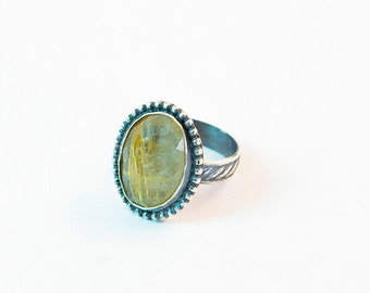 Rutile Quartz Ring in Handcrafted Sterling Silver  Size 9