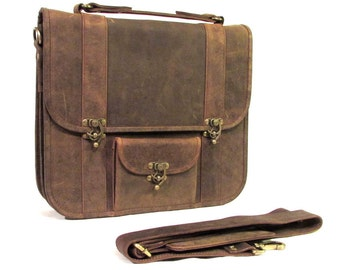 Leather Messenger Bag, Leather Laptop Bag, 13 inch Macbook Bag, Satchel Bag, Cross Body Man Bag in Brown-MB30a