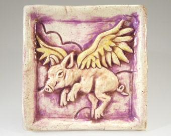 WHEN PIGS FLY Ceramic Art Tile - Lavender, 4 x 4 Handmade Ceramic Tile, Flying Pig Wall Art