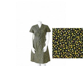 1950s NWT Black Floral Dress • 50s Day Dress • NOS • XL Plus Size