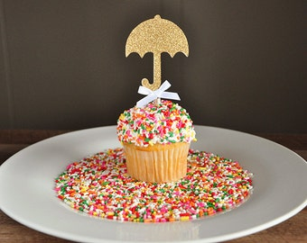 Baby Shower Decorations.  Handcrafted in 2-3 Business Days. Sprinkle Shower.  Umbrella Cupcake Toppers 12CT.