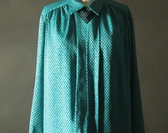 Vintage 80's Teal and Black Secretary Blouse by Melrose Options, size 12