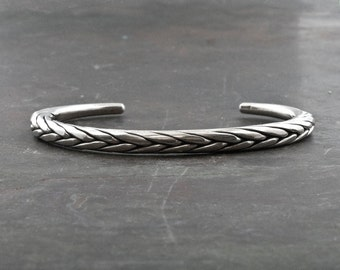 Sterling Silver Bracelet, Men/Women Bangle Bracelet, Silver Braided Bracelet, Men's Jewelry, Men's Gift Simple Cuff Bracelet, Unisex Jewelry