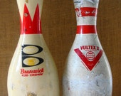2 Vintage Bowling Pins Brunswick Red Crown & Vultex II Plastic Coated Wood ABC WIBC Approved Bowling Pins Game Room Decor Man Cave Sports