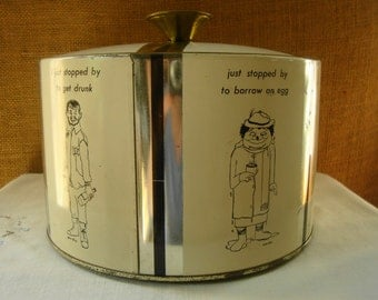 Vintage ICE BUCKET 6 Sided Features Cartoon Figures by William Box Interior Top Lined With Cork Features Cartoon by Fabercraft Frenchtown NJ