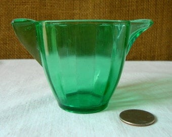 Antique AKRO AGATE GREEN Glass Creamer Pitcher Transparent Green Glass Made by Akro Agate Flying Crow Through A Embossed Mark on Bottom