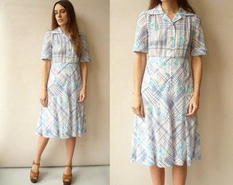 1970's Vintage Floral & Check Print Midi Tea Dress Size XS