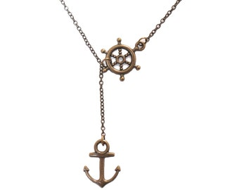 Brass Nautical Lariat Necklace, Rudder Anchor Necklace, Wheel and Anchor Navy Lovers Living by the Ocean, Beach Pendant