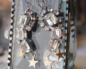Shooting Stars--Vintage Art Deco Rhinestone Star Charm EARRINGS