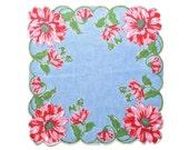 Vintage Floral Hankie Floral Print Handkerchief Retro Handkerchief Rolled Edge Blue with Pink Daisy