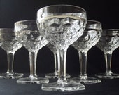 Vintage Collectible Stemware 6 Fostoria Champagne Glasses Footed Dessert Tall Sherbet Glasses Clear American Hexagon Foot