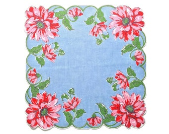 Vintage Floral Hankie Floral Print Handkerchief Retro Handkerchief Rolled Edge Blue with Pink Daisy