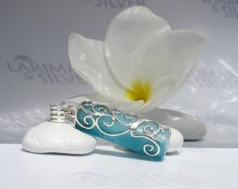 Larimarandsilver pendant, Crystal of Ocean - sea blue Larimar lariat, AAA, turtleback, deep teal, Caribbean blue, handmade Larimar pendant