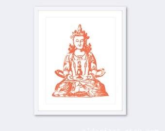 Buddha Art Print Buddha Wall Art - Asian Decor - Buddha Decor - Buddha Poster - Namaste Art - Yoga Poster - Seated Buddha Print - Zen Decor