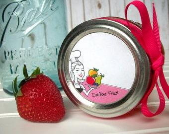 Eat Your Fruit canning labels, round retro chic mason jar labels, vintage jam jar labels, jelly jar label, fruit preservation