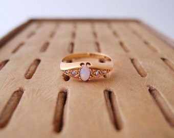 antique 18k Gold Opal & Diamond Ring ... UK hallmarks 1920 Belcher Boat Ring... late Edwardian / early Art Deco size 8.25