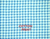 1/2 YARD, Blue White Screen Print, Craft or Quilting Cotton Fabric, Crosshatch Lines, Medium Weight, B10