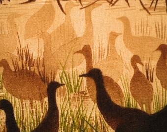 Brown Geese in Marsh Print, Quilting or Craft Cotton Fabric, Hi Fashion, Tan Water, Green Grass, half yard, B22