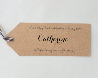 LUGGAGE TAGS bridal party | will you be my bridesmaid, maid of honour, groomsman, best man, modern calligraphy, minimalist