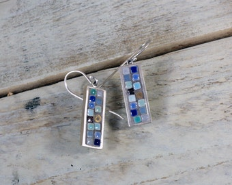 Mosaic earrings Unique blue dangle earrings Contemporary earrings Boho earrings Sterling silver dainty earrings