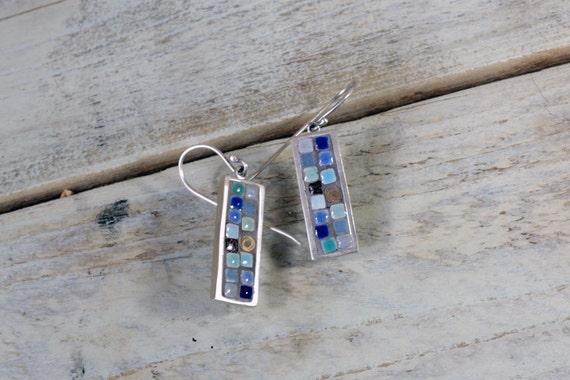 Mosaic earrings Unique blue dangle earrings Contemporary earrings Boho earrings Sterling silver dainty earrings
