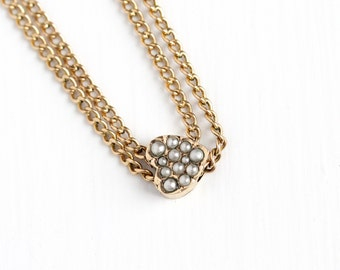 Antique Victorian Era 10k Solid Gold Heart Pearl Slide Charm Necklace - Vintage Edwardian Fob Pocket Watch Gold Filled Chain Layered Jewelry