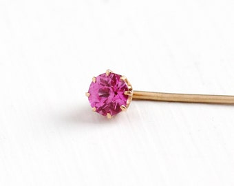 Sale - Antique 10k Yellow Gold Created Pink Sapphire Stick Pin - Vintage 1920s Solitaire Pink Faceted Round Stone Fine Jewelry