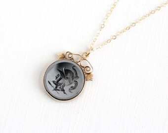 Sale - Antique Edwardian 14k Rose Gold Hematite Soldier Cameo Intaglio Necklace - Vintage Gray Gem Fob Filigree Leaf Pendant Fine Jewelry