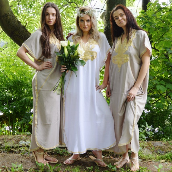 Set of 6 Bridesmaid robes,Bridesmaid gifts, Beige Gold Marrakech One Size Moroccan Kaftan-Beach wedding, bridal shower party, baby shower