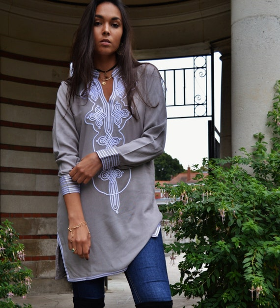 Christmas Gifts- Grey White Aisha Tunic Moroccan Dress- Birthdays , Resort wear, beach wear, bohemian, eid, Ramadan, beach wear