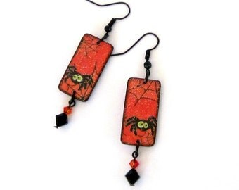 Halloween Earrings Decoupaged Spider Spiderweb Cobweb Dangle Crystal Fashion Jewelry Orange Black