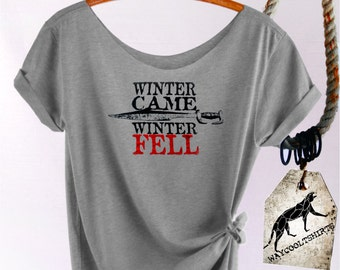 Game of Thrones Shirt. House Stark Women's Slouchy Off The Shoulder Tee. Winter Came & Winter Fell! Winter Is Coming. Winter Is Here!