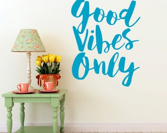 Inspirational Decal Good Vibes Only | Wall Sticker | Vinyl Wall Decal Quote | Wall Sticker Quote | Wall Decor (0171a47v-r5)