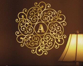 Metallic Gold Monogram Mandala Decal Monogram Circle Decal Custom Initial Wall Decal (0171b36v-r5)