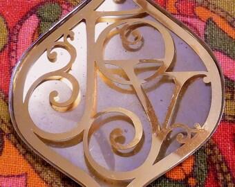 Silver 70s Trimmer JOY Christmas Tree dimensional ornament by Oneida