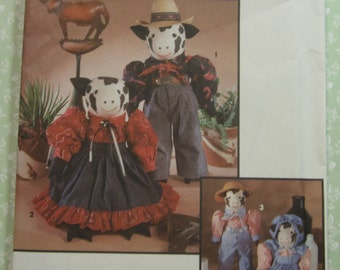 Decorative Cow Dolls and Clothing Vintage 1990's UNCUT Simplicity Pattern 8269