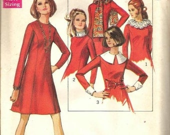 1960s Princess Seam Dress Scarf Detachable Collar Cuffs Long Sleeves Simplicity 8391 Uncut FF Bust 32.5 Women's Vintage Sewing Pattern
