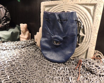 Dragon eye dice bag (Blue leather with Gold Eye)----New Style-----