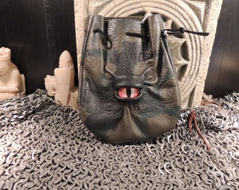 Dragon eye dice bag (Camo leather with Red Eye)----New Style-----