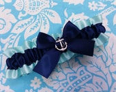Mint and Navy Wedding Garter SINGLE or SET , beautiful  mint and Navy Nautical themed garter, aqua and navy, silver anchor