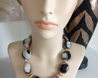 BLACK FRIDAY SALE:  Ashira Natural Slab Stones with Gold Vermeil nuggets Statement Necklace Black White