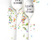 BIG Ice Cream Spoon and Little Ice Cream Spoon Personalized Stamped Spoons. Yours Mine Ice Cream Spoons. Tablespoon and Teaspoon Pair
