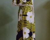 """Reserved for zivzaf Vintage 60's-70's Alfred Shaheen Cotton Maxi-Dress Hand Printed Hawaii Bust 40"""" Waist 38"""""""