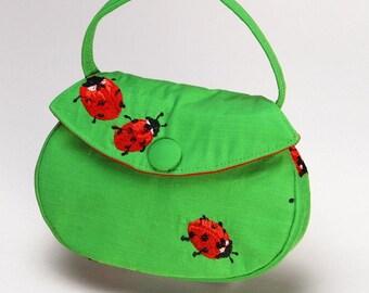 Green Ladybug Button Bag