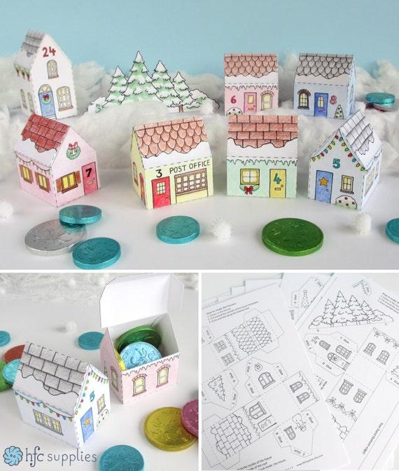 Advent Calendar Village Diy : Printable advent calendar village mini house boxes by