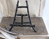 vintage black bamboo easel,  bamboo display stand