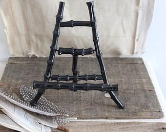 vintage black bamboo easel,  bamboo display stand