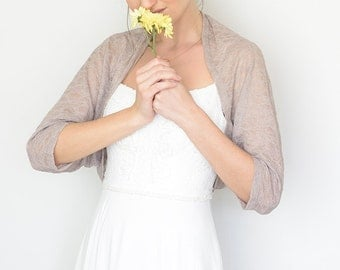 Wedding dress sleeves, taupe shawl, bridal coverup, taupe lace cover up, lace bolero, bridal bolero, taupe wedding shrug, autumn wedding