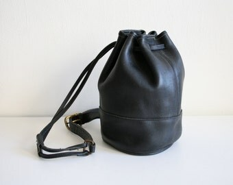 Black Coach Bucket Drawstring Sling Bag