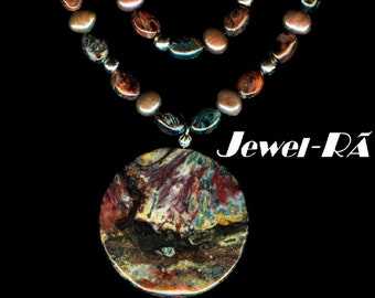 OOAK, Red & Blue Pietersite gemstones, bronze freshwater Pearls, sterling silver, earth tones, Boho, beaded double strand Necklace Set #145
